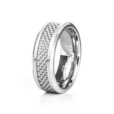 Men's Silver Carbon Fiber Inlay Cobalt Ring | Eve's Addiction®