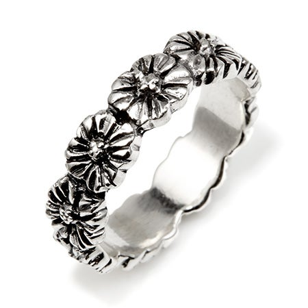 Silver Engravable Flower Band Ring   Eves Addiction