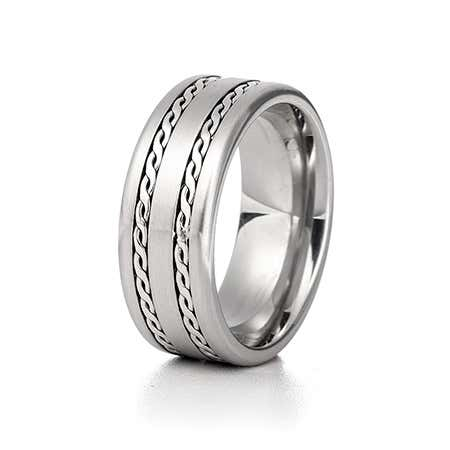 Men's Double Braided Design Engravable Ring