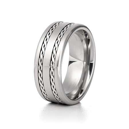Men's Double Braided Design Engravable Ring
