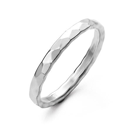 Hammered 2mm Sterling Silver Ring | Eve's Addiction®