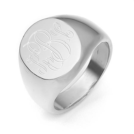 Engravable Oval Silver Signet Ring | Eve's Addiction®