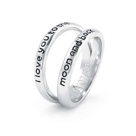 I Love You To The Moon and Back Double Band Silver Ring