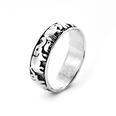 Engravable Lucky Elephant Sterling Silver Ring | Eve's Addiction®