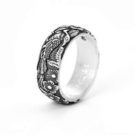 Engravable Botanical Garden Bali Style Silver Ring