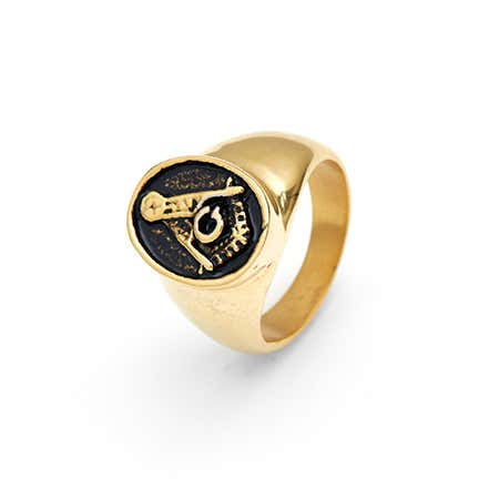 Men's Gold Plated Masonic Ring in Stainless Steel