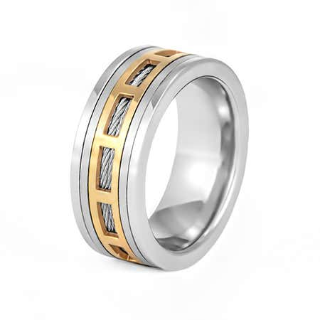 Men's Stainless Steel Spinner Ring with Cable Inlay
