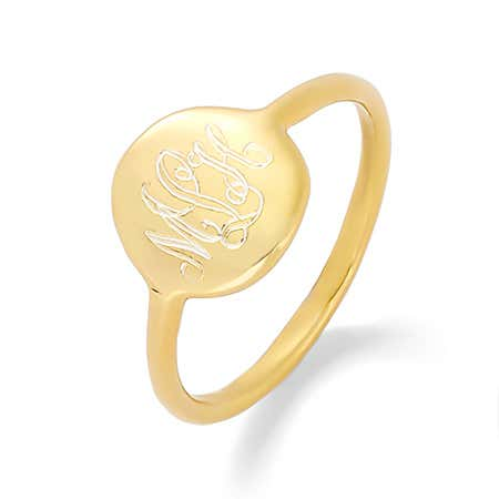Gold Engravable Monogram Disc Ring