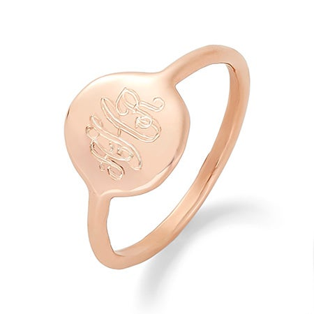 Engraved Monogram Circle Disc Ring in Rose Gold | Eve's Addiction®