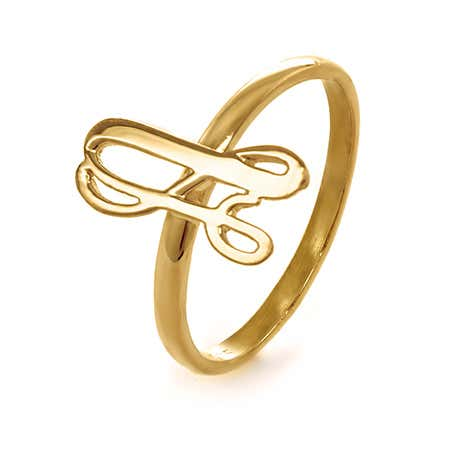Uppercase Script Initial Thin Ring in Gold | Eve's Addiction®