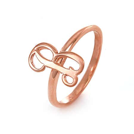 Handcrafted Rose Gold Script Initial Ring