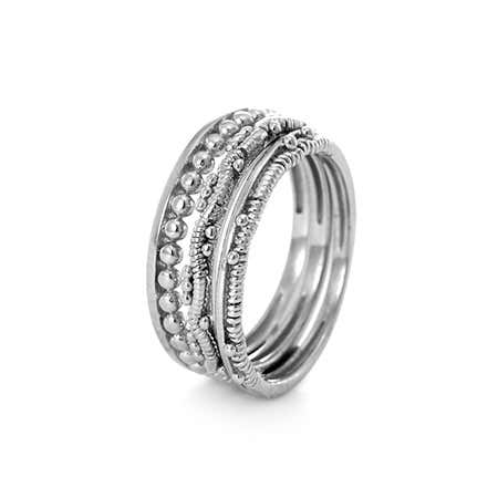 Detailed Silver Stackable Ring Set