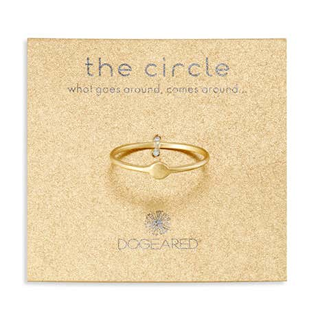 display slide 1 of 2 - Dogeared Gold Circle Ring - selected slide