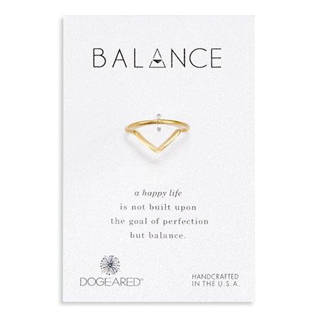 Dogeared Gold Balance V Ring
