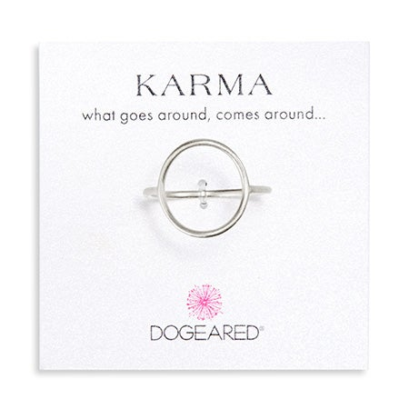 Dogeared Karma Medium Smooth Silver Ring