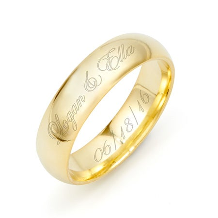 Engraved Couple's 5mm Gold Message Ring