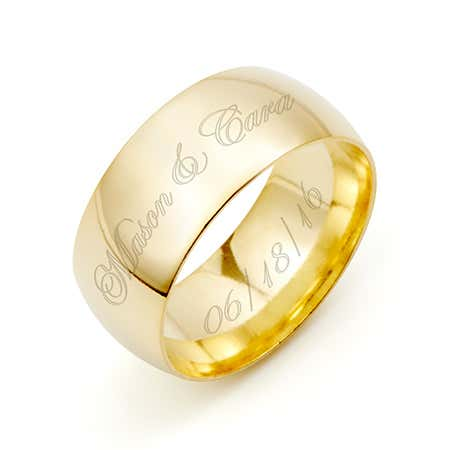 display slide 1 of 2 - Engraved Couple's 8mm Gold Message Ring - selected slide