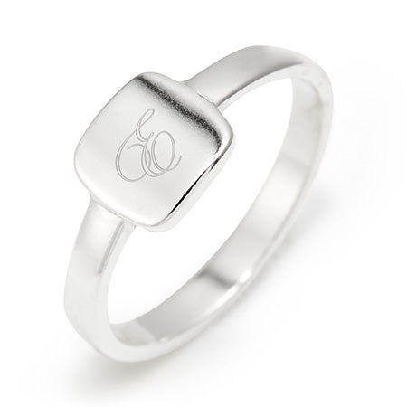Petite Square Signet Silver Ring