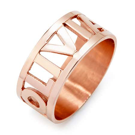 display slide 1 of 2 -   Cut Out Block Rose Gold Name Ring | Custom Name Ring - selected slide