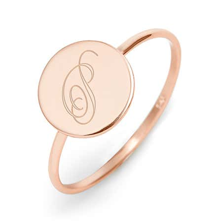 Custom Rose Gold Plated Initial Signet Ring