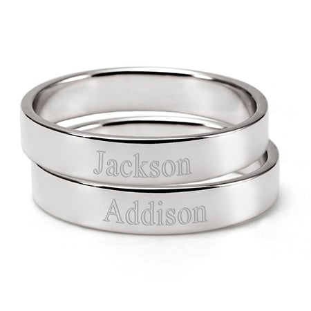 2 Sterling Silver Stackable Ring Set | Custom Mom Rings