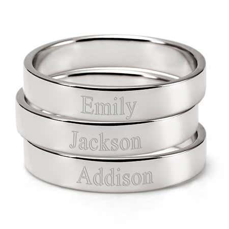 3 Sterling Silver Stackable Ring Set | Custom Mom Rings