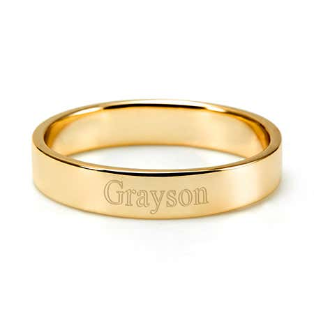 Engravable Gold Stacking Name Ring