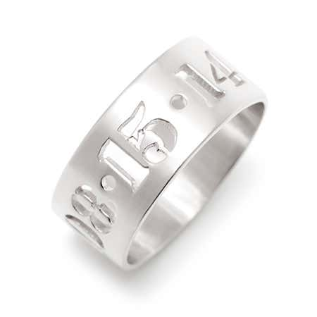 Silver Cut Out Date Ring Jewelry