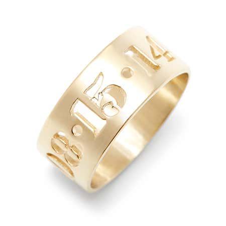 Custom Date Gold Cut Out Block Ring