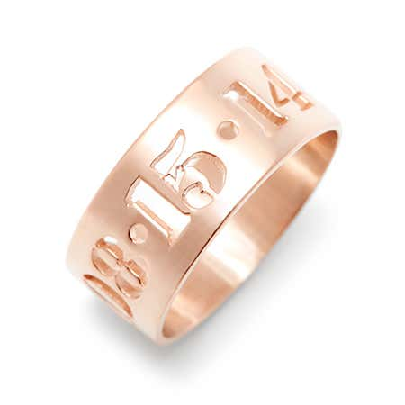 Custom Rose Gold Cut Out Dates Ring