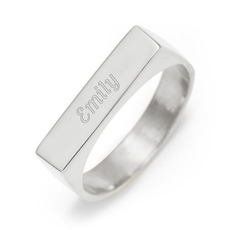 Custom Rectangle Name Bar Ring Silver | Eve's Addiction