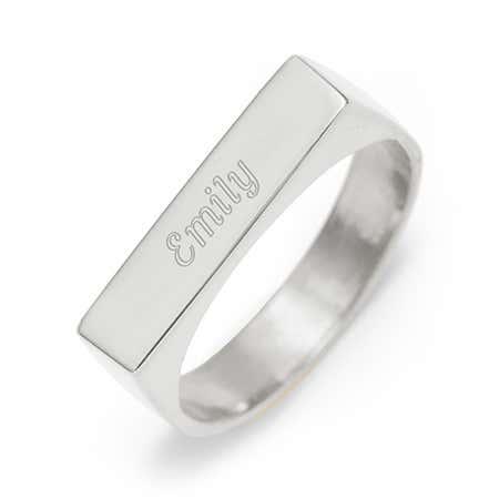 Custom Rectangle Name Bar Ring Silver | Eve's Addiction