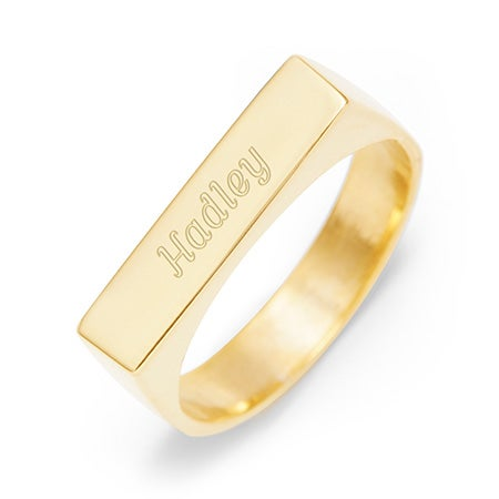 Custom Rectangle Name Bar Ring Gold | Eve's Addiction