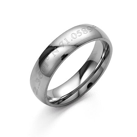 Women And Mens 5mm Stainless Steel Coordinates Engraved Band