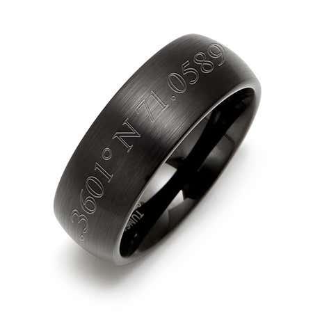 Custom Made Coordinates Engraved Black Tungsten 8MM  Ring