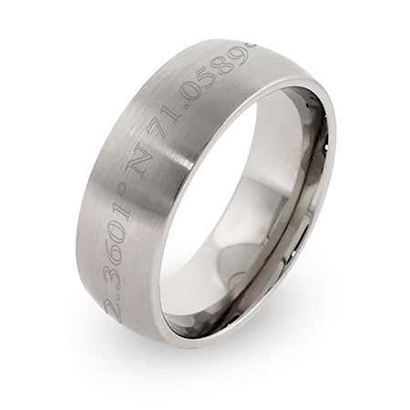 Personalized Coordinates Stainless Steel Ring 7MM Width