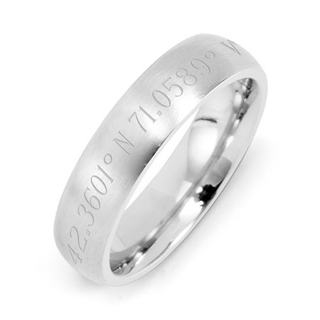 Engravable Coordinate Brushed 5mm Stainless Steel Ring