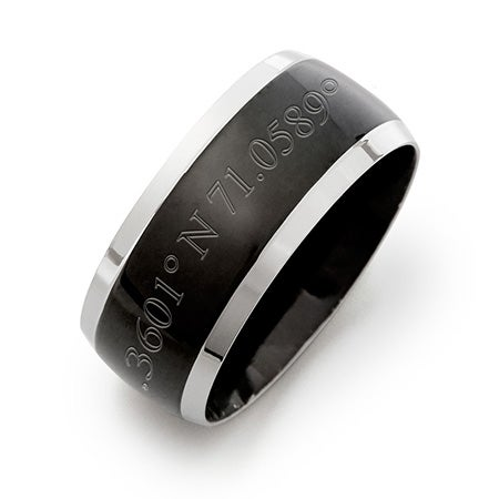 Custom Coordinate Mens Black Plate Stainless Steel Line Band