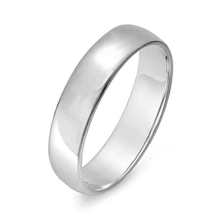 5mm Engravable 14k White Gold Wedding Band