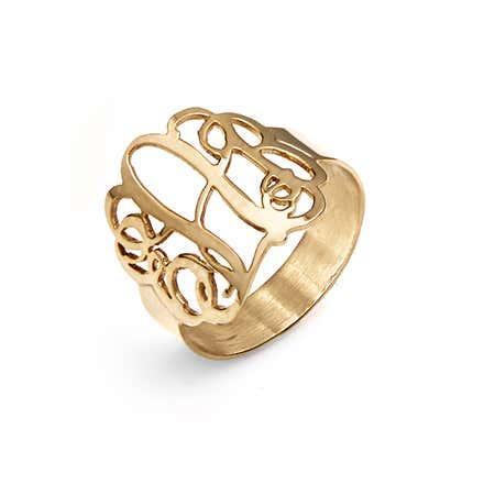 Fancy 14K Gold Script Monogram Ring | Eve's Addiction®
