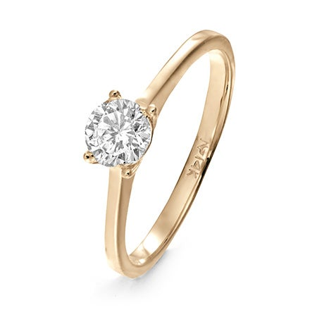 14K Gold Solitaire CZ Engagement Ring | Eve's Addiction®