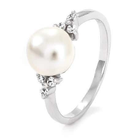 Sterling Silver Pearl and Cubic Zirconia Ring