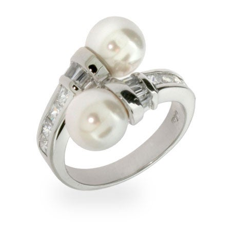 Double Pearls and Diamond CZ Sterling Silver Ring | Eve's Addiction®