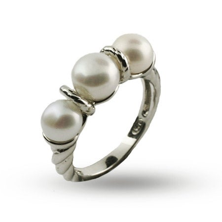 Designer Inspired Triple Pearl Sterling Silver Cable Ring | Eve's Addiction®