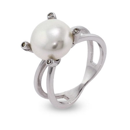 12mm Pearl Sterling Silver Right Hand Ring | Eve's Addiction®