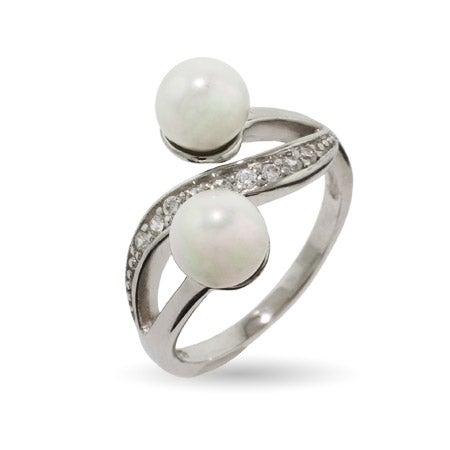 Double Pearl and CZ Sterling Silver Ring | Eve's Addiction