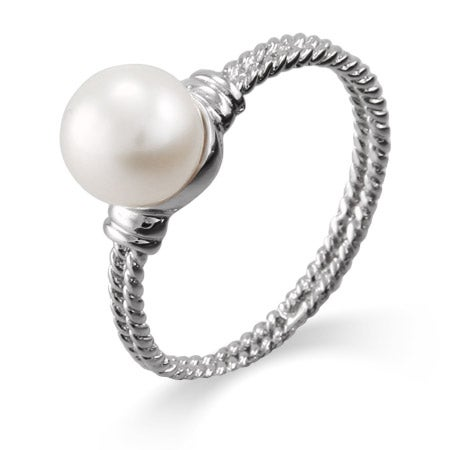 Sterling Silver Single Pearl Cable Ring | Eve's Addiction®