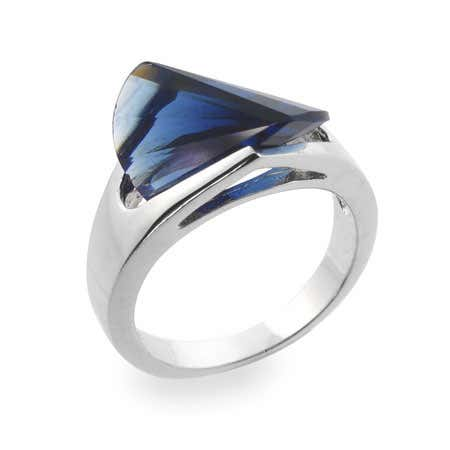 display slide 1 of 1 - Sapphire Blue CZ Ring - selected slide