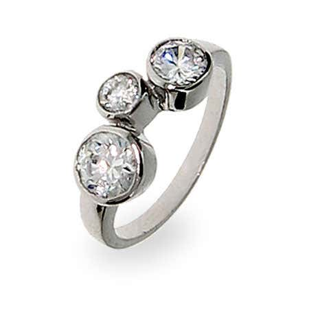 Sterling Silver Bubbles Ring with CZ