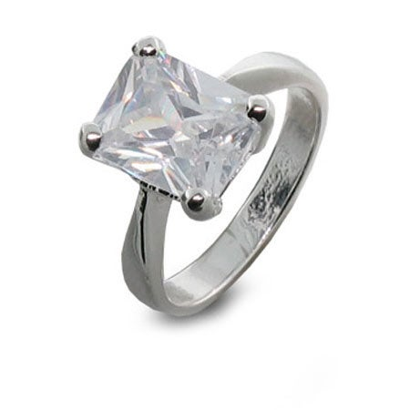 4 Carat Emerald Cut CZ Solitaire Set Ring in Silver | Eve's Addiction®